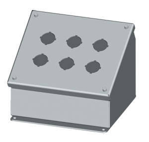 SCE-PBA Series Sloping Pushbutton Enclosures : IP55 Steel Sloping Front Pushbutton Enclosures for 22mm & 30.5mm Pushbuttons