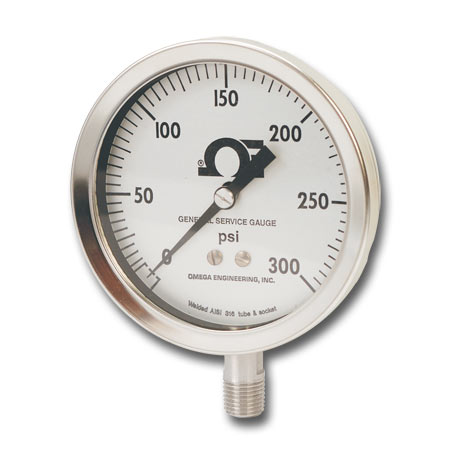 Liquid filled pressure gauge for industrial use