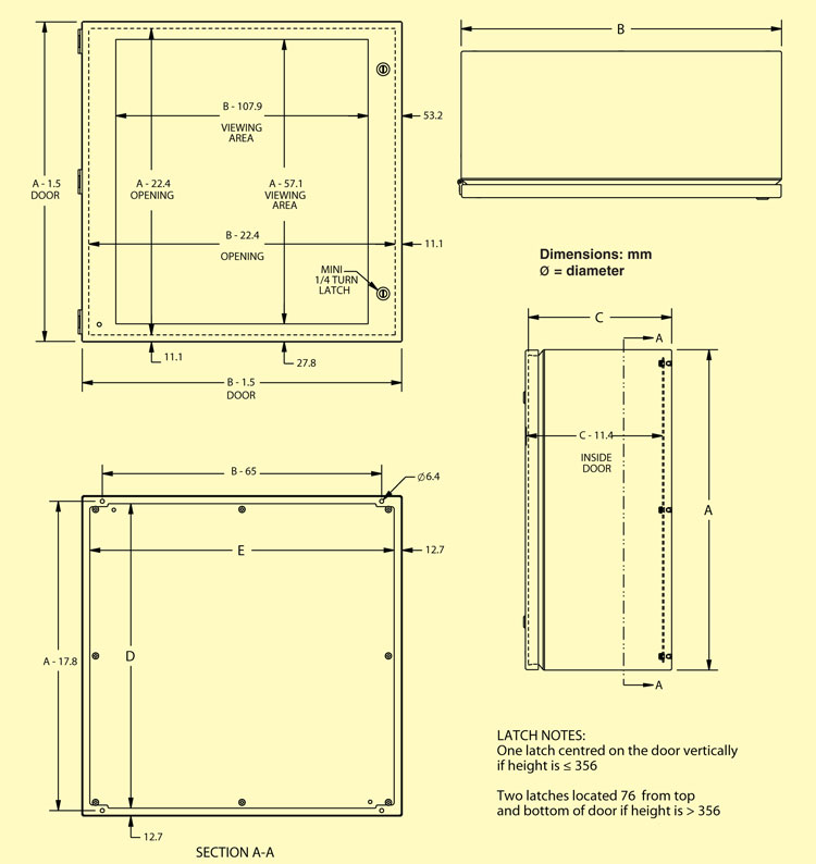Electrical enclosure and sub-panel dimensions