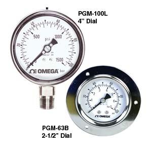 Industritrykmålere i rustfrit stål til væskepåfyldning - model PGM-100 og PGM-63 | PGM Series
