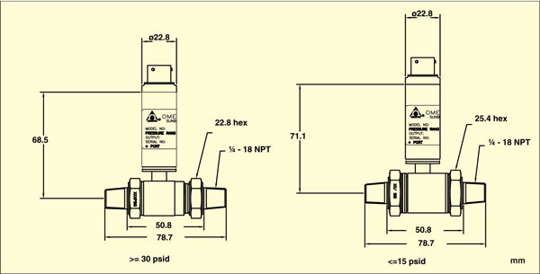 PX409-WDDIF Differential pressure transducer Dimensions