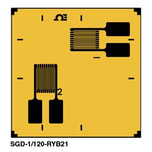 Dual Element, 90º Biaxial Rosette Strain Gauges | SGD-3/120-RYB21