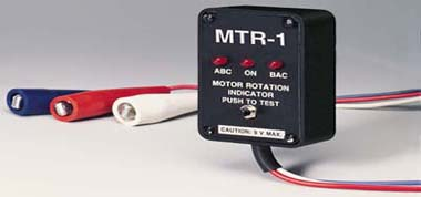 Motor Rotation Indicator, Determines Correct Power Connection for clockwise or counterclockwise motor rotation, Model MTR-1  | MTR-1