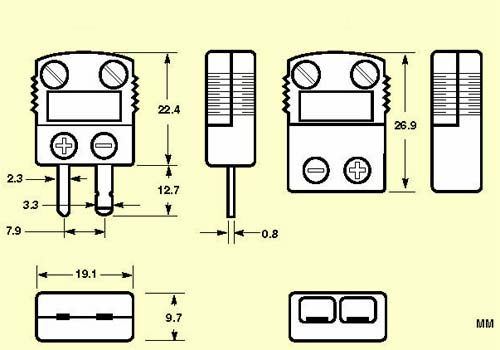Omega SHX mini ceramic thermocouple connector dimensions