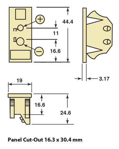 UPJ Panel Mount Thermocouple Socket Dimensions