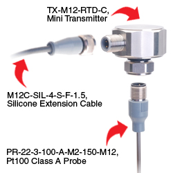 TXM12 Transmitter with Pt100 probe and output cable