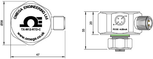 TXM12 Transmitter Dimensions